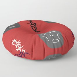 Masks with Tribal Tattoos, Black, Red, White, Mystic Symbols, Mystery of Life, Rite of Passage. Floor Pillow