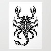 scorpio Art Prints featuring Scorpio by Mario Sayavedra