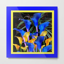 BLUE-BLACK MODERN ABSTRACT BLUE & GOLD CALLA LILIES Metal Print