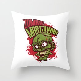 A Unique Detailed Zombie Tee For Yourself? Here's An Awesome T-shirt Saying Zombie Marijuana Design Throw Pillow