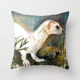 Winter stoat watercolor Throw Pillow