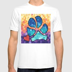Puppy Love - Colorful Dog Paw Art By Sharon Cummings White Mens Fitted Tee MEDIUM