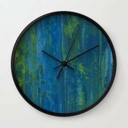 Push & Pull - Abstract in Blue, Yellow, Green Wall Clock