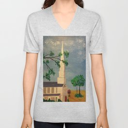 The Steeple, McClain Ave Baptist Church Steeple, Memphis, TN Unisex V-Neck