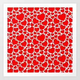 Red Hearts Pattern Art Print