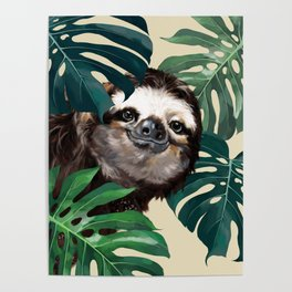 Sneaky Sloth with Monstera Poster