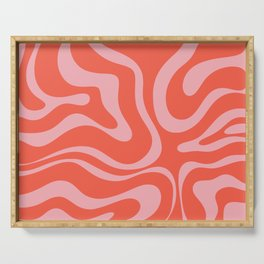Double Pink Liquid Swirl Retro Modern Abstract Pattern Serving Tray