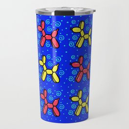 Balloon Dogs: Red and Yellow on Blue Travel Mug