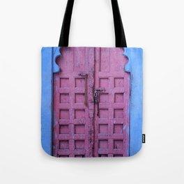 Pink Door In The Blue City, Jodhpur Tote Bag