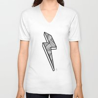 lightning V-neck T-shirts featuring Lightning by Amber Lily Fryer