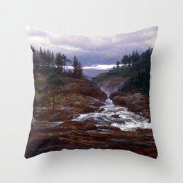 Johan Christian Dahl The Lower Falls of Labrofoss Throw Pillow