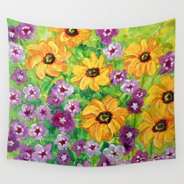 The Angel - Daisies and Phlox Painting Wall Tapestry