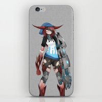 cyberpunk iPhone & iPod Skins featuring Cyberpunk Monster Girl by lazylogic