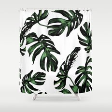 Tropical Green Palm Leaves Shower Curtain