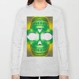 psychedelic skull art geometric triangle abstract pattern in green yellow Long Sleeve T-shirt