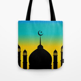 Mosque dome and minaret silhouette with moon during sunset - eid gifts Tote Bag