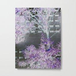 Purple Gray Tree Mirrored Pattern. Metal Print