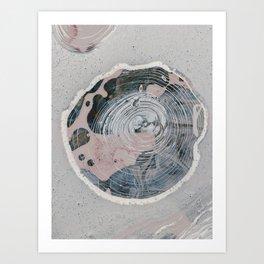 Sacred Ground: a pretty, minimal digital piece in pink blue and light grey by Alyssa Hamilton Art  Art Print
