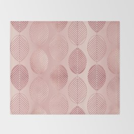 Rose Gold Leaf Pattern Throw Blanket