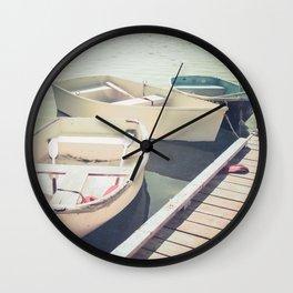 Docked Rowboats Wall Clock
