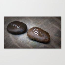 """""""avec toi"""" message, écriture sur un galet Canvas Print"""