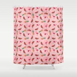 Flamingo Fling, watermelon, pineapple Shower Curtain