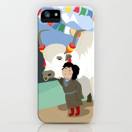A child and his best friend iPhone Case