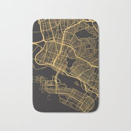 OAKLAND CALIFORNIA GOLD ON BLACK CITY MAP Bath Mat