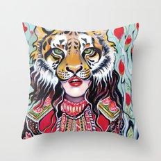 Tiger Woman Throw Pillow