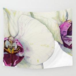 Cream & Fuchsia Phalaenopsis Orchids Wall Tapestry
