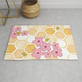 Cherry Blossom Bees Rug