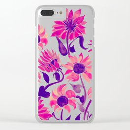 Sunflower Watercolor – Pink & Purple Palette Clear iPhone Case