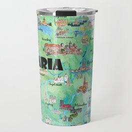 Bavaria Germany Illustrated Travel Poster Map Travel Mug