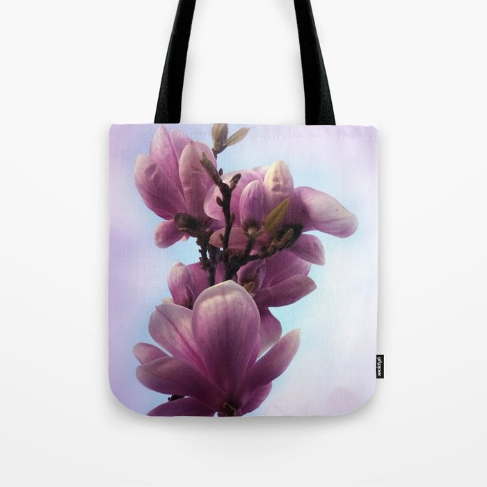 pink magnolia blossoms on texture -1- Tote Bag