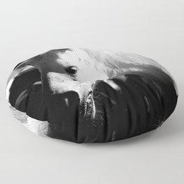 White Horse-Dark Floor Pillow
