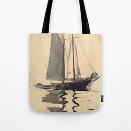 Vintage Schooner Sailboat Watercolor Painting (1894) Tote Bag