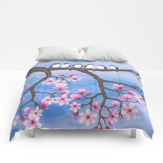 tree swallows & magnolia Comforters