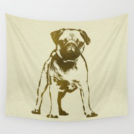 Pug Puppy sketch on canvas with gold accents Wall Tapestry