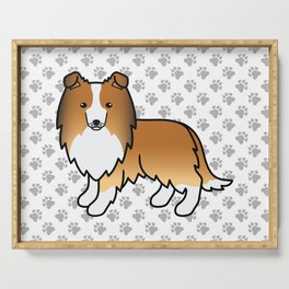 Sable Shetland Sheepdog Dog Cartoon Illustration Serving Tray