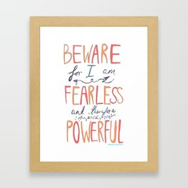 BEWARE, FEARLESS, POWERFUL: FRANKENSTEIN by MARY SHELLEY Framed Art Print