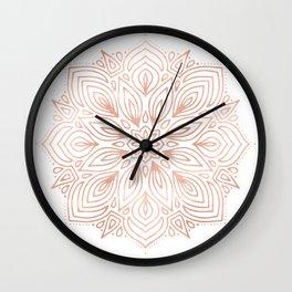 Mandala Rose Gold Flower Wall Clock