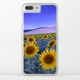 Sunflowers At Blue Hour Clear iPhone Case