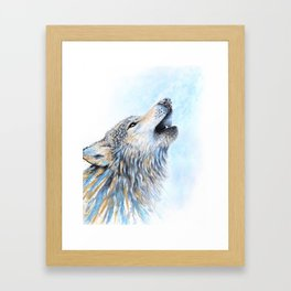 """""""Howling"""" Watercolor Wolf Framed Art Print"""