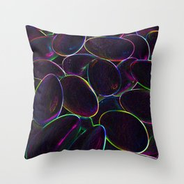 Psychedelic Candy Black Throw Pillow