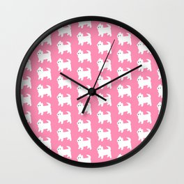 Westies Pink Pattern Wall Clock