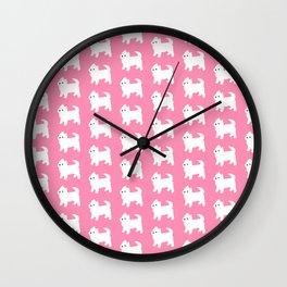 Westies Pink Pattern Wall Clock