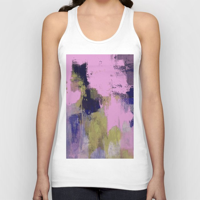 Wild Lilac - Abstract, textured, lilac, purple, blue and yellow oil painted artwork Unisex Tank Top