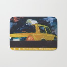 Subway Card NYC Taxi Painting Bath Mat