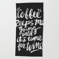 Coffee & Wine – White Ink Beach Towel