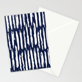 Vertical Dash White on Navy Blue Paint Stripes Stationery Cards